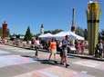 Mayor Bemis on the Chalk of Fame at the Gresham Arts Festival