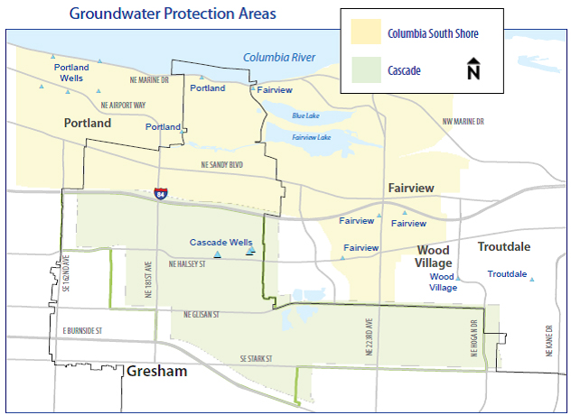 Map of Gresham Groundwater Protection Areas
