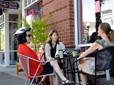 Bicyclists meeting for coffee in downtown Gresham